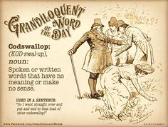 Grandiloquent Word of the Day: Codswallop (KOD The Words, Small Words, More Than Words, Unusual Words, Unique Words, Beautiful Words, Cool Words, Idioms And Proverbs, Cowboy Quotes