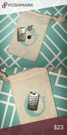 Brand New Origami Owl Tags Four Leaf Clover Tag TAG149 Black Onyx Accent Tag EES113 Fear Not/Without Change There Would Be No Butterflies Tag TAG139 Origami Owl Jewelry