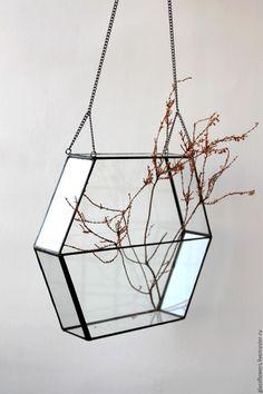 Купить Флорариум. Геометрический подвесной флорариум на цепочке - ваза для интерьера, ваза для флорариума, террариум для растений #StainedGlasses