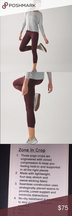 Lululemon Bordeaux Drama Zone in Crops Zone in compression Crops. Size 12, in great shape. Hard to find color, beautiful for fall.   Happy to bundle :)   All items come from a clean, non smoking home.   Check out my other items! Lots of Nike, Victoria Secret, Lululemon, Gap, Rock Revival & Miss Me items. lululemon athletica Pants Leggings