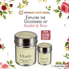 Khadi Natural Sandal & Rose Face Pack is an Ayurvedic product, which nourishes your skin with the goodness of sandal and rose. This face pack gives a clean & polished look to the skin and it also helps in improving the complexion. #KhadiNatural #NaturalFacePack #WeBuyNatural