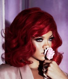 Ruby Red on Rihanna - My hair used to be a few shades darker than this. Chocolate Cherry :-) I wish I could pull this off.