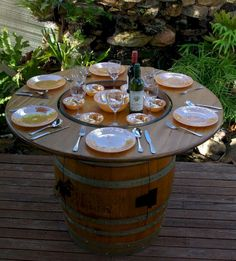 47 Creative Ideas That You Can Make Using Old Wine Barrels - Whiskey barrel ideas - Wine Barrel Table, Wine Barrel Furniture, Wine Barrels, Outdoor Furniture, Patio Table, Outdoor Tables, Bbq Table, Patio Dining, Dining Table