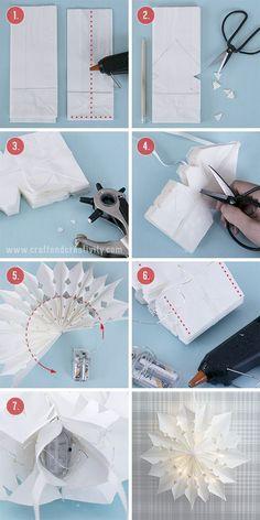 DIY: paper bag christmas stars