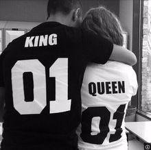 Verão homens / Casual carta impresso de moda de t rainha rei algodão t camiseta vestidos(China (Mainland))
