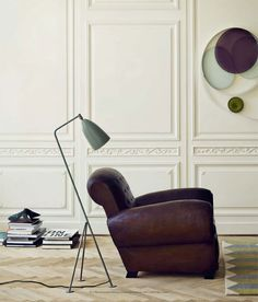 Grasshopper Floor Lamp / from The Grossman Collection. design by Greta Grossman. and that chair! via Miss Moss. #lighting