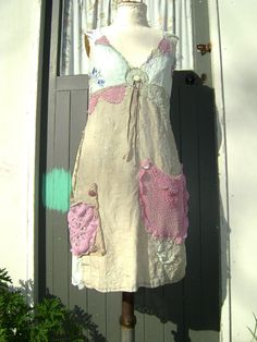 paris artists dress,vintage linens sundress,natural tones with sunset hues, lucyv,lucynz