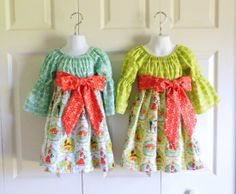 Girls Christmas Bell Sleeve Peasant Dress with sash - 3 mos to size 8 - Alpine Wonderland - CHOICE Green or Blue - Holiday Collection on Etsy, $42.00