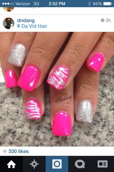 Pink nails, pink summer nails, bright pink nails, pink zebra na Get Nails, Fancy Nails, Love Nails, Hair And Nails, Fabulous Nails, Gorgeous Nails, Pretty Nails, Fingernail Designs, Toe Nail Designs