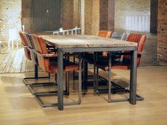 Afbeeldingsresultaat voor eettafel stalen poten u frame Loft Shop, Dining Room, Dining Table, Interior Design, Inspiration, Furniture, Tables, Home Decor, Dinner Room
