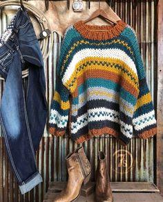 The Durango – Savannah Sevens Western Chic Western Chic, Mode Outfits, Fall Outfits, Fashion Outfits, Mode Crochet, Knit Crochet, Savannah Sevens, Chunky Oversized Sweater, Estilo Hippie