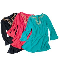 Satin Sensation Tunic- split V-neck, sequined embroidery and braided ties with tassels. Side slits. Flattering length covers tummy and hips. Polyester. Shop online at tashina.avonrepresentative.com