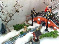 Picture of a Christmas Village ice stream and bridge Christmas In The City, Christmas Town, Christmas Villages, Christmas Crafts, Christmas Decorations, Christmas Mantles, Victorian Christmas, Christmas Ornaments, Christmas Christmas