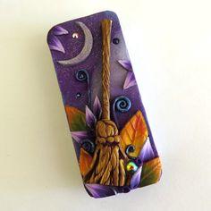 Magic Broom Halloween Slide Top Tin Sewing Needle by Claybykim