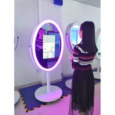 Multi-colour oval mirror photo booth in sales.
