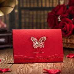 Wishmade Chinese Red Wedding Engagement Invitations Card…