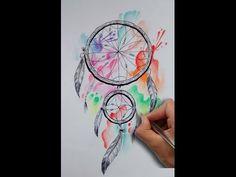 Diseño Atrapasueños Acuarela / Acuarelle Dreamcatcher Tattoo Design- Nosfe Ink Tattoo - YouTube