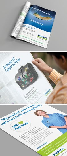 Medacs creative adverts for print in newspaper and medical magazines - including international medical positions and nurses Nurses, Case Study, Newspaper, Magazines, Medical, Positivity, Creative, Projects, Journals