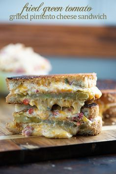 The ultimate grilled cheese sandwich! Packed with pimento cheese and fried green tomatoes for a true Southern treat!