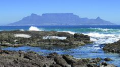 Table Mountain as seen from On the Rocks Restaurant, Bloubergstrand Table Mountain, The Rock, Places To Go, Rocks, Restaurant, Awesome, Water, Outdoor, Gripe Water