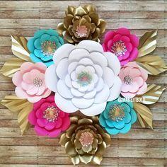 Paper Flowers, Paper Flower Set, Paper Flower Backdrop, Nursery Flowers, Nursery Set, Party Backdrop, Baby Shower Decor, Bridal Shower Decor by MakeItBoldCreations on Etsy