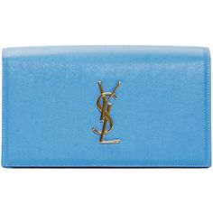 Saint Laurent Blue Leather Monogram Clutch (6.425 VEF) ❤ liked on Polyvore featuring bags, handbags, clutches, genuine leather purse, yves saint laurent handbags, real leather purses, blue purse и leather purse
