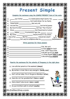 Simple Present - English ESL Worksheets for distance learning and physical classrooms English Grammar Tenses, Teaching English Grammar, English Grammar Worksheets, Kids Math Worksheets, English Language Learning, English Vocabulary, English Story, English Fun, English Lessons