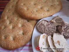 The Lenten bread known as Lagana traditionally sees the light of day only once each year, on the first day of the Greek Orthodox Lent, known as Clean Monday. Food N, Food And Drink, Greek Bread, Cypriot Food, European Cuisine, Greek Cooking, Greek Dishes, Greek Recipes, Greek Desserts
