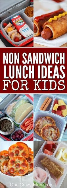 Non Sandwich Lunch Ideas for Kids - 20 kid friendly lunch ideas for school If your kids are tired of sandwiches, check out these ideas! 20 non sandwich lunch ideas for kids that are yummy and kid approved! Non Sandwich Lunches, Lunch Snacks, Lunch Recipes, Baby Food Recipes, Healthy Snacks, Kid Snacks, Sandwiches For Lunch, Toddler Sandwiches, Dinner Recipes
