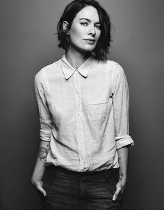 Lena Headey // short dark bob, casual button down shirt & jeans #style #fashion