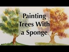 How to Sponge Trees with Watercolor Painting - YouTube