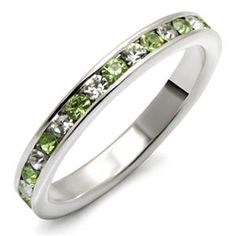 Special Promotion - Sterling Silver Peridot Crystal Band Limited Offer Size 7 or 8 | Hope Chest Jewelry
