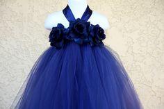 Navy blue flower girl dress for wedding.