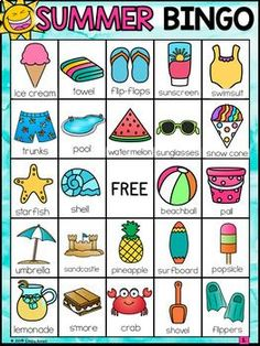Summer Bingo (End of the Year) by Emily Ames Fourth Of July Crafts For Kids, Summer Crafts For Kids, Summer Activities For Kids, Camping Activities, Kindergarten Activities, Summer Daycare, School's Out For Summer, Summer School, English Activities