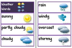 Weather Words | Flashcards | Poem. A set of 'Weather Words' flashcards with supporting poem 'Whether the weather…' A useful resource for learning subject -specific vocabulary about the weather.