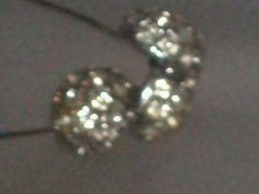 Rare Vintage Long Silver Tone Box chain necklace with Pave rhinestone Half Circle Balls