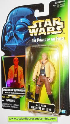 Kenner / Hasbro toys action figures for sale to buy STAR WARS power of the force / potf 1997 LUKE SKYWALKER in ceremonial outfit card variant info: holographic 'collection 1' .01 NEW - still factory s