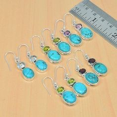Gemstone 14884: 925 Solid Sterling Silver Wholesale 5Pair Natural Turquoise Mix Stoneearring Lot -> BUY IT NOW ONLY: $32.99 on eBay!