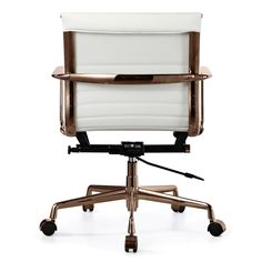 QUINZE Office Chair In in Rose Gold and White Italian Leather