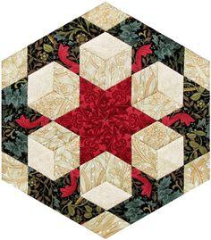 Morris Hexathon 15: Kelmscott Tile by Becky Brown        I named this week's hexie Kelmscott Tile   for the fireplaces at Kelmscott Ma...