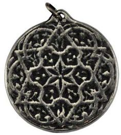 """The Seal of Solomon Health and Prosperity Amulet has been created to aid you in invoke energies for good health, good luck, and prosperity in all things. Made in USA. Has cord. Pewter. 3/4"""""""