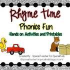 $ These Rhyme Time Phonics Fun centers and printables are differentiated and aligned with the Common Core.  This 100+ phonemic awareness resource inc...