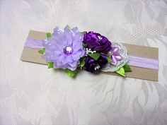 Bandeau fleurs satin/Bandeau bébé violet et vert/Bandeau en