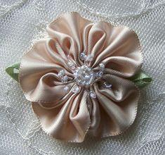 6pc Glass Beaded TAN Satin Fabric Fabric por delightfuldesigner