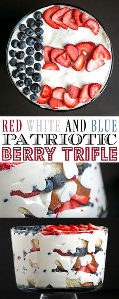 4th of July Patriotic Flag Berry Trifle - this no-bake red, white and blue, strawberry and blueberry trifle is perfect for patriotic holiday gatherings. Make it gluten-free easily by using a gluten-free cake mix.