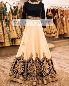 Indian Black,White & Gold Lehenga Choli | Chic & Elegant | WellGroomed