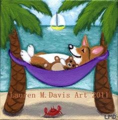 Original Lauren M.Davis Pembroke Welsh Corgi Dog and Beach Hammock 4x4 inch Art Painting Sold in 2011