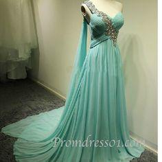 "qwedding: "" 2015 one shoulder blue chiffon prom dress """