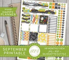 Mambi SEPTEMBER Monthly View Happy Planner Stickers Back to School Chalkboard…