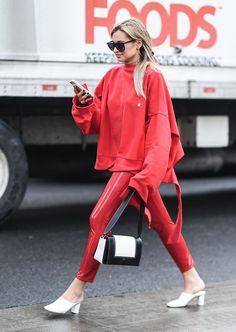 Red Street Style Trend at Fashion Week Fall 2017 | POPSUGAR Fashion